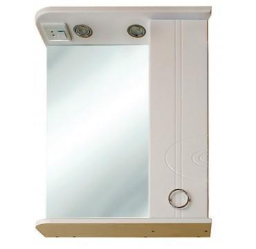 "Зеркало SMARTsant ""Тефия"" со шкаф. и полкой, лев. 65см, бел (MS020221W)"