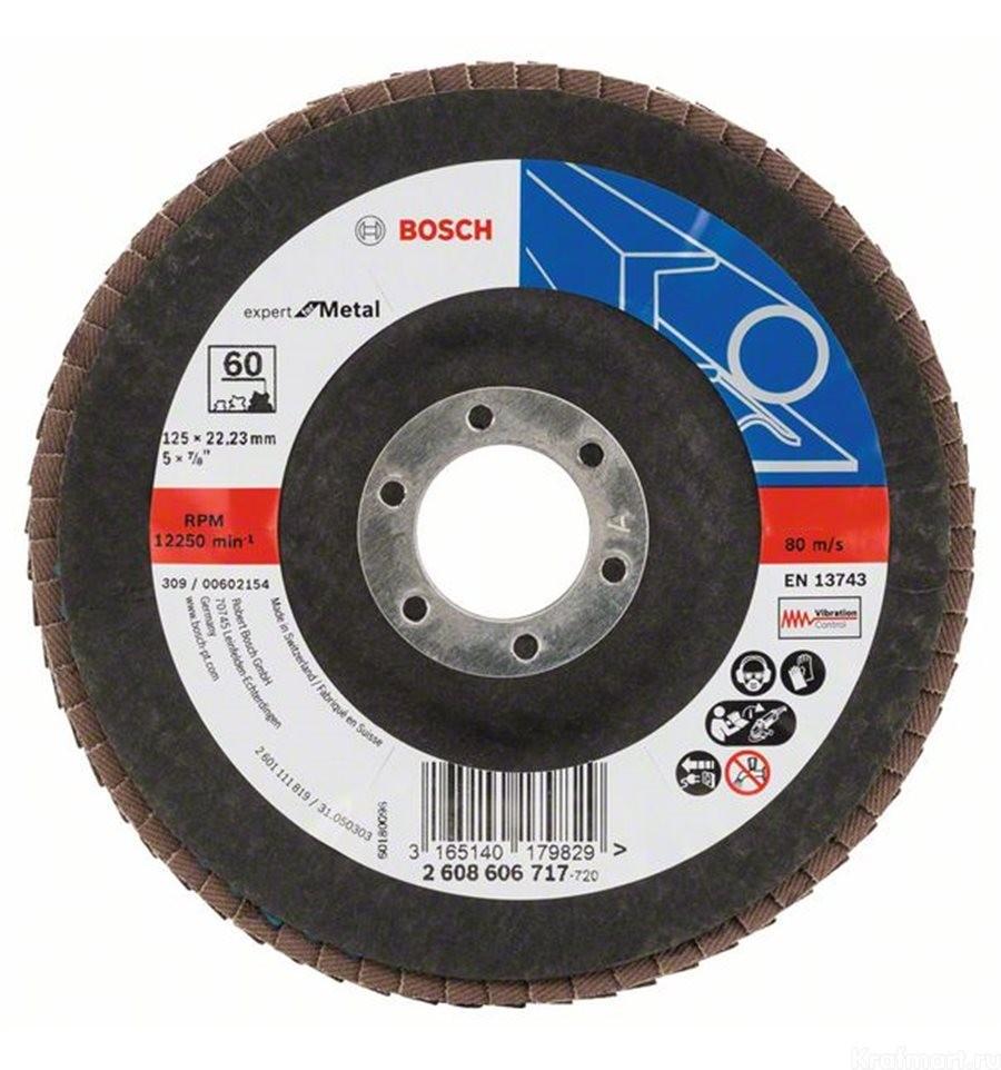 Круг лепестковый 125мм K120 Expert/Metal прямой BOSCH 2 608 607 356