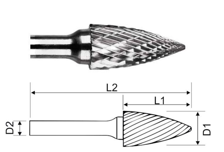 Борфреза HM гиперб. с точ. концом 12х25х6х69