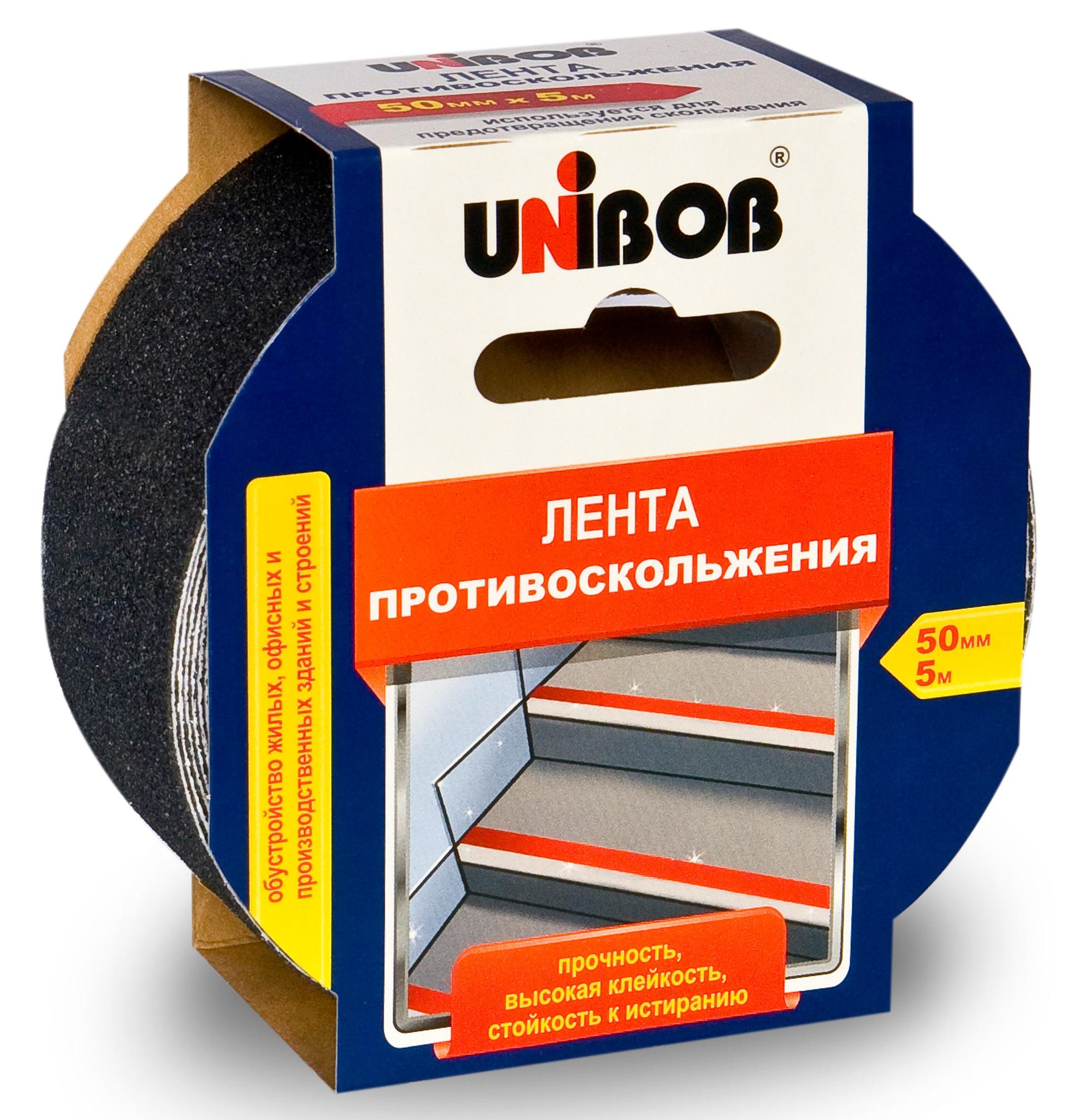 Лента противоскольжения 50ммх5м Лента противоскольжения 50мм x 5м черная UNIBOB 39293 39293