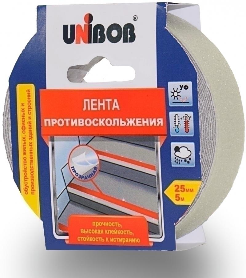 Лента противоскольжения 25ммх5м прозрачная UNIBOB 54804