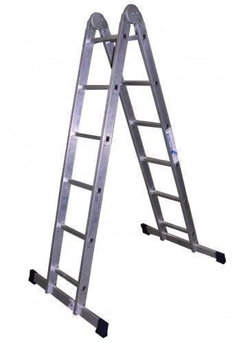 Лестница двухсекционная 2х 6 ступеней алюминиевый профиль, шарнирная Алюмет Т206