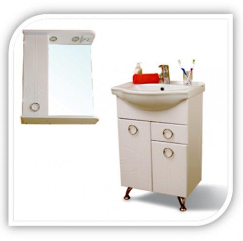 """Зеркало SMARTsant """"Тефия"""" со шкаф. и полкой, лев. 55см, бел"""