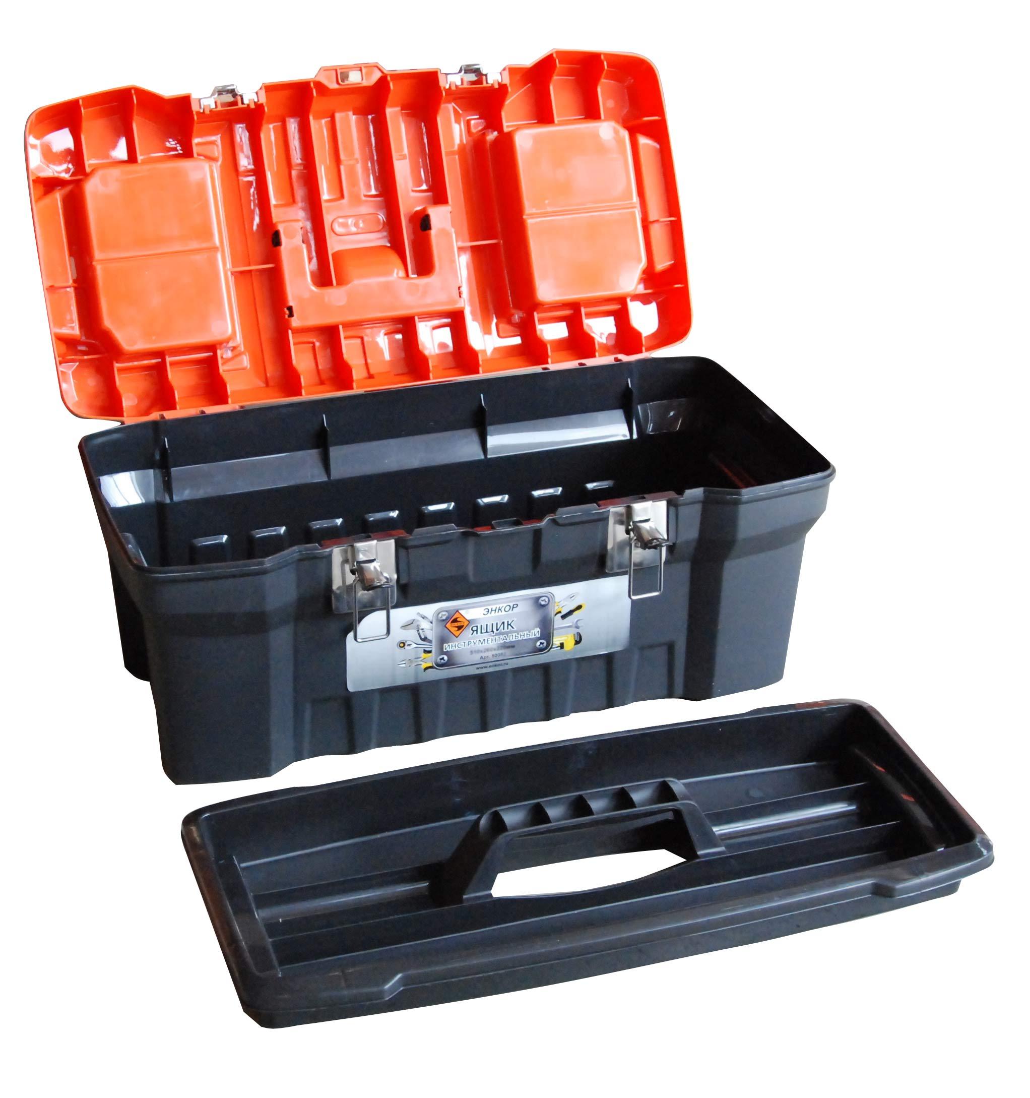 """Ящик для инструмента 20"""" Энкор 510х260х220мм черный/оранжевый"""