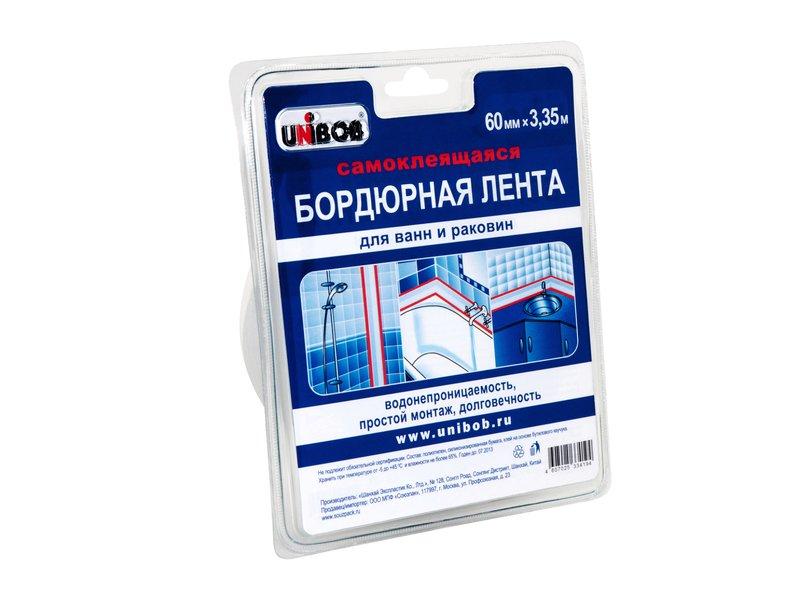 Лента самоклеющаяся бордюрная для ванн 60ммх3,35м UNIBOB 35545