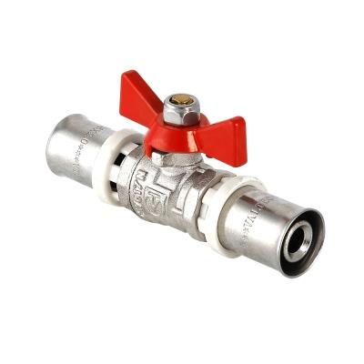 Кран шаровой 16 х 16 бабочка для металло-пластиковых труб пресс Valtec VT.243.N.1616