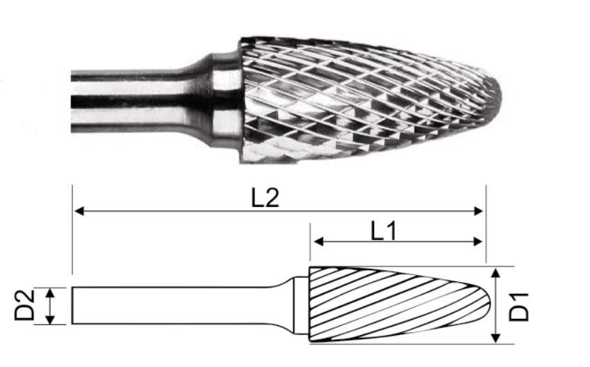 Борфреза HM гиперболическая сфер концом 12x25x69