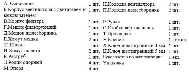 Комплектация пылесоса- стружкоотсоса Энкор Корвет 61