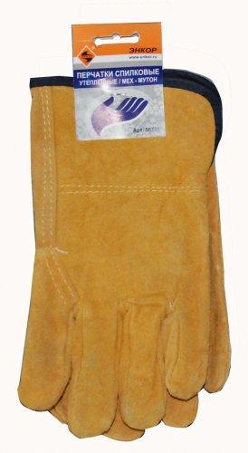 Перчатки спилковые утепленные Энкор мех мутон