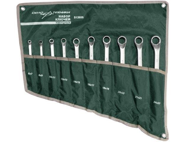 Набор ключей накидных 10 предметов сумка ДелоТехники 512600
