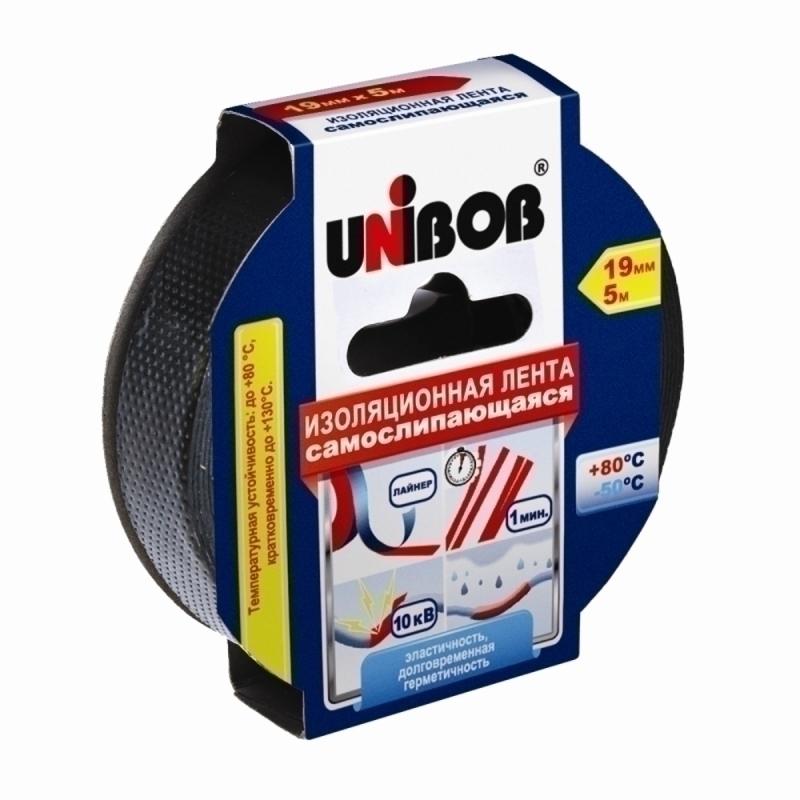 Лента электроизол самослипающ 19ммх5м черная UNIBOB 48888