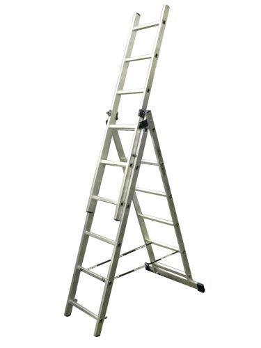 "Лестница трехсекционная 3х 9 ступеней ""Энкор"" Алюмет 5309"