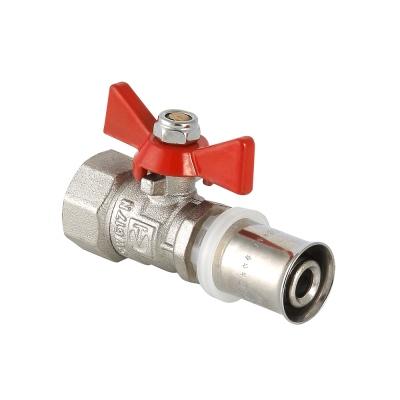 """Кран шаровой 16 х 1/2"""" бабочка для металло-пластиковых труб пресс Valtec VT.242.N.1604"""