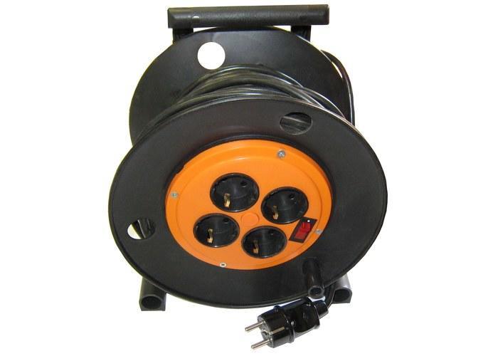 Силовой удлинитель на металлической катушке 40м. 4 розетки ЭНКОР Крона УР16-0001