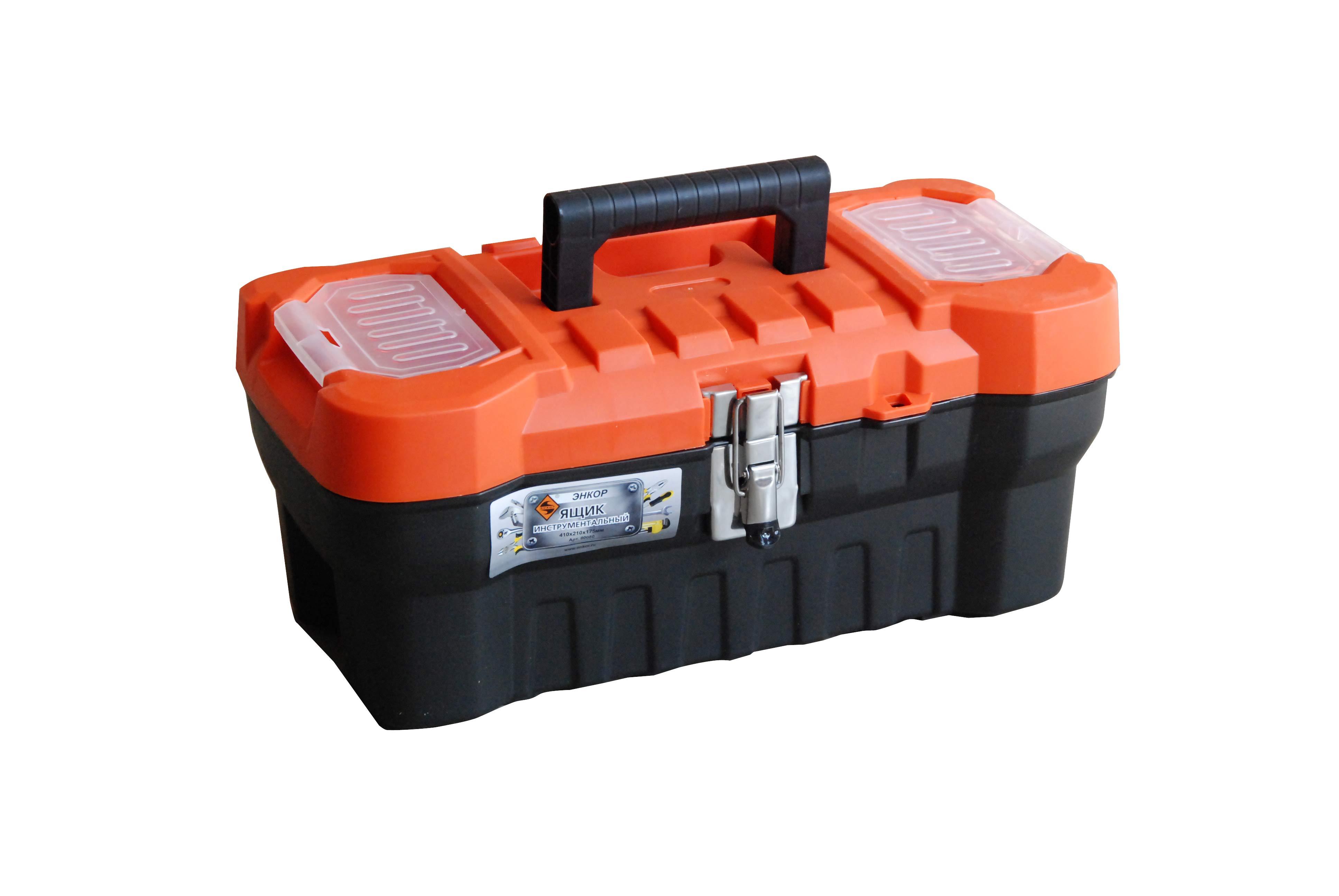 """Ящик для инструментов 16"""" Энкор чёрно-оранжевый"""