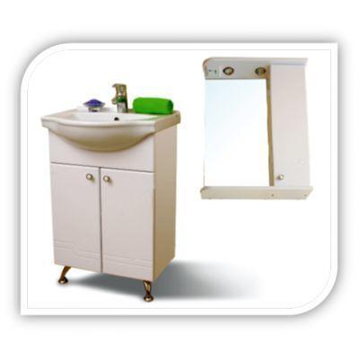 """Зеркало SMARTsant """"Диона"""" со шкаф. и полкой, лев. 55см, бел (MS010211W)"""